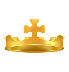 Golden crown with cross 3d icon realistic vector