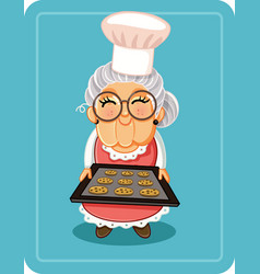 Grandma baking chocolate chips cookies illu vector