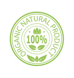 green stamp for natural organic product vector image