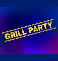 Grill party scratched stamp seal on gradient vector
