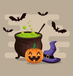 halloween card with cauldron vector image