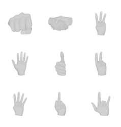 Hand gestures set icons in monochrome style Big vector