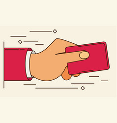 hand holding credit card - flat style vector image