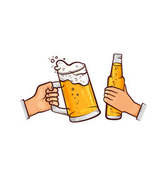 Hands with beer glass bottle toasting vector
