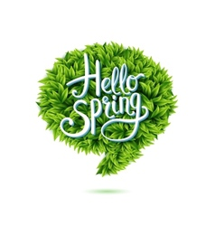 Hello Spring speech bubble in green leaves vector image