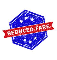Hexagonal bicolor reduced fare watermark with vector