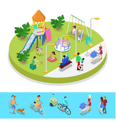 Isometric city park composition with playground vector