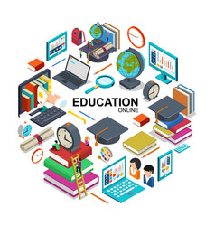 isometric online education round concept vector image