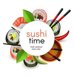 Japanese sushi banner with rolls and ebi nigiri vector