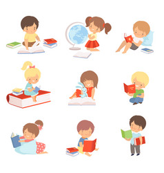 Kid characters learning to read vector