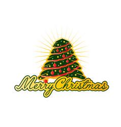 merry christmas with big tree vector image