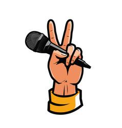 Microphone in hand pop art retro comic style vector