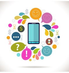 Mobile phone with icons Colorful Concept of vector