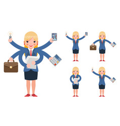 Multitasking businesswoman cute young professional vector