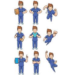 Nurse caucasian male set vector