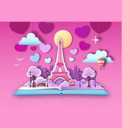 Open fairy tale book with paris city landscape vector