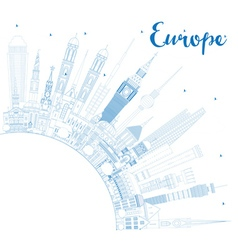 Outline europe skyline silhouette vector