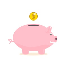 Piggy bank with a gold coin vector