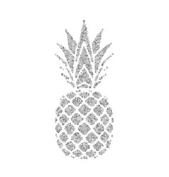 pineapple with leaf tropical silver exotic fruit vector image