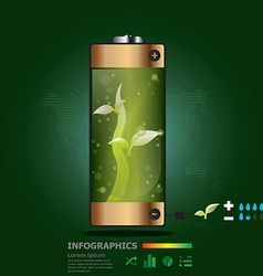 Plants Battery Infographics Design Template vector image