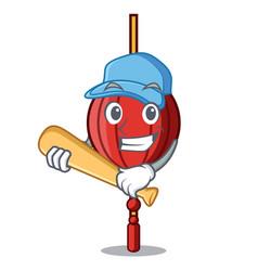 playing baseball chinese lantern character cartoon vector image