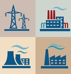 Power plant electrisity icons set vector