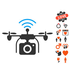 Radio camera drone icon with lovely bonus vector
