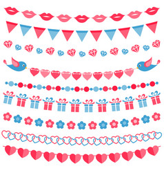 Red and blue garland set isolated on white vector