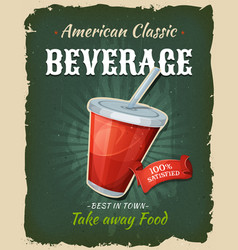 Retro fast food beverage poster vector