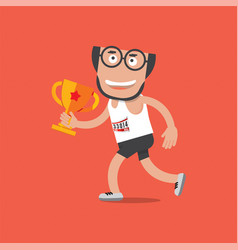 running man with trophy vector image