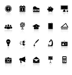 School icons with reflect on white background vector image