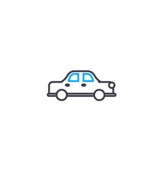 sedan car thin line stroke icon sedan car vector image