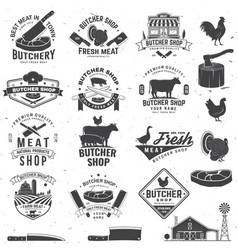 set butcher shop badge or label with cow beef vector image