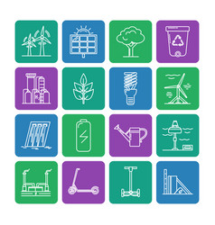 set energy and ecology line icons vector image