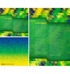 Set geometric backgrounds using brazil colors vector