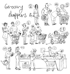 Set grocery shoppers hand sketching vector