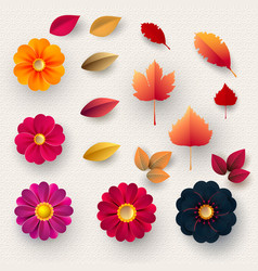 set multicolored paper flowers and autumn vector image