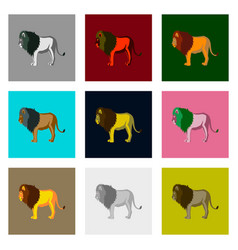 Set of in flat style lions vector