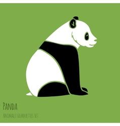 set panda silhouettes vector image