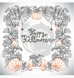 Silhouette of halloween frame with pumpkins vector
