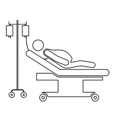 silhouette pregnant woman in stretcher clinical vector image