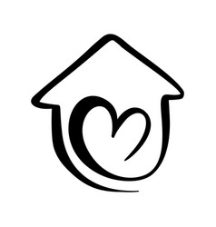 simple calligraphy house with heart real vector image