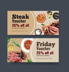 Steak voucher design with spaghetti beef vector
