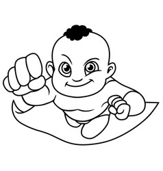 Super baby black line art vector
