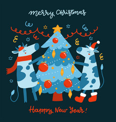 symbol year bull and ox decorate vector image