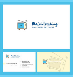 television logo design with tagline front and vector image