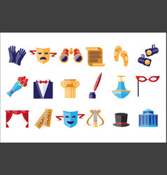 Theatre icons set theatrical acting performance vector