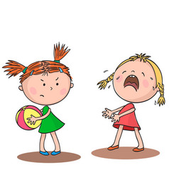 two little girls quarrel over a toy vector image