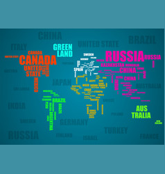 typography colorful world map with country names vector image