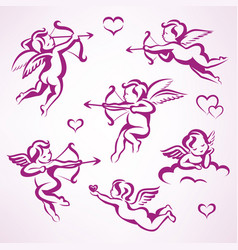 valentines day cupid collection set of angels vector image